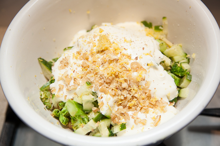 Add yogurt, grated nut meg, lemon rind and finish with walnuts or almonds and a drizzle of lemon flavoured olive oil.