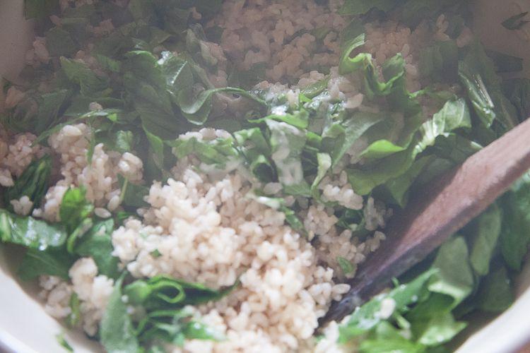 Add brown rice.