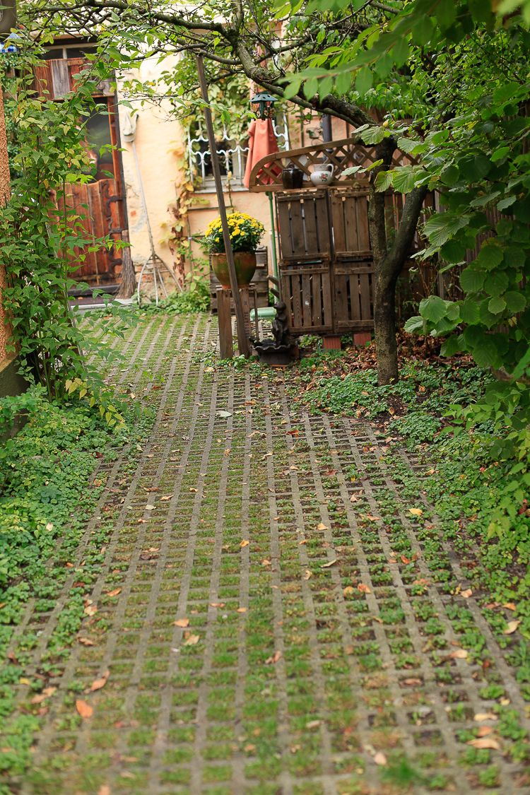 Permeable paving along a small residential drive allows storm water to filter through and diminishes storm water run off that swells our rivers and creeks beyond capacity.