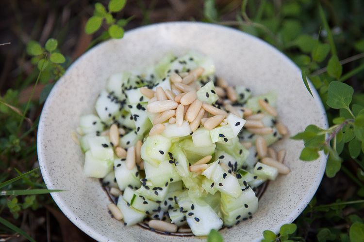 Cucumber, pine nuts and black sesame salad.