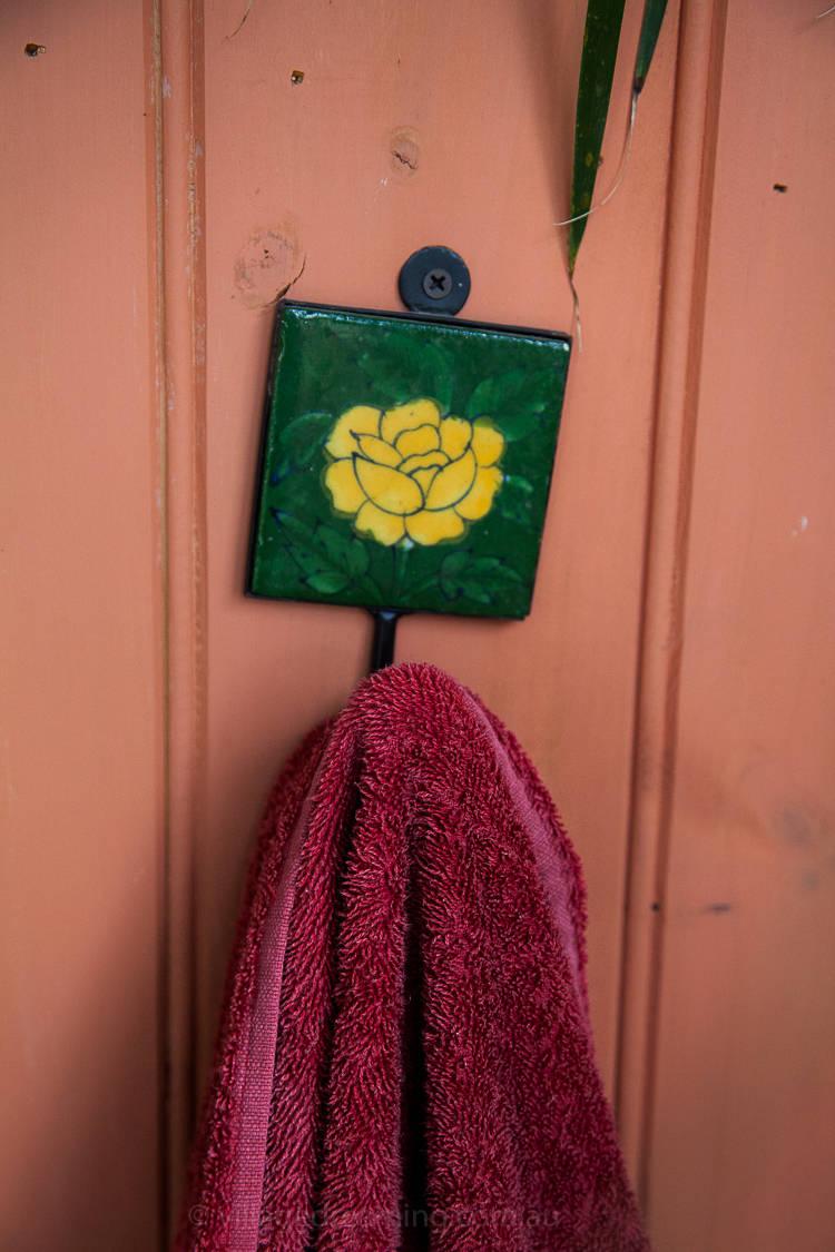 Towel rack detail.