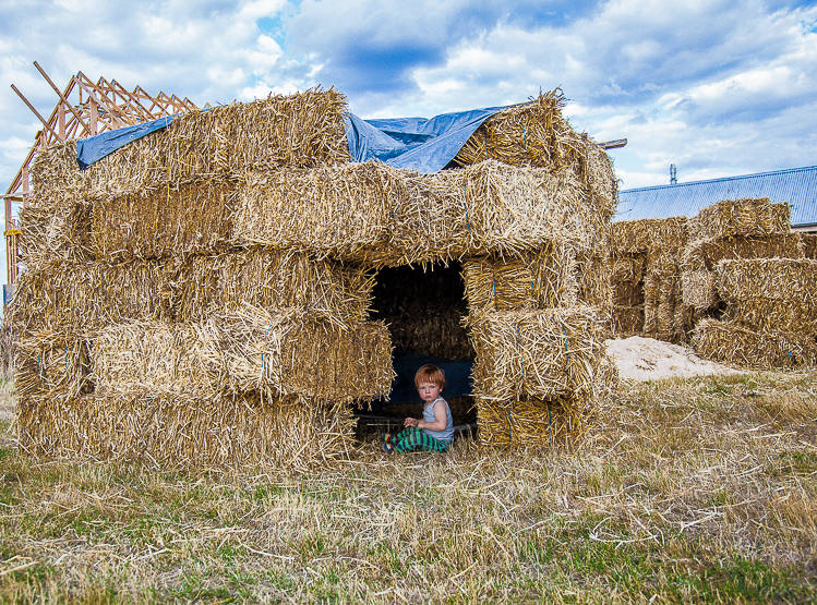 Friends from Adelaide come and visit and build straw homes of their own.