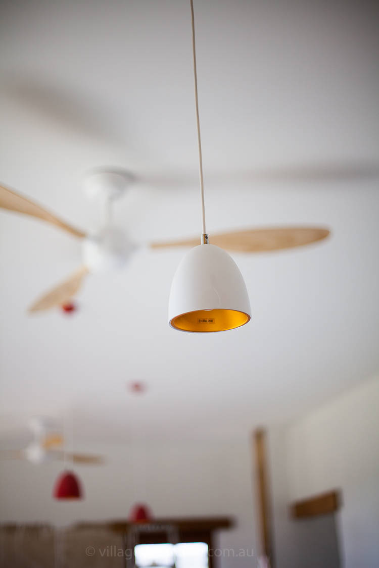 Lights with LED's and Fan for summer cooling.